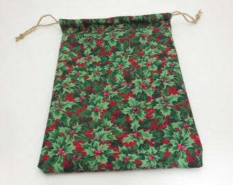 Handmade Reusable Cloth Holly Red and Green Gift Bag - Medium