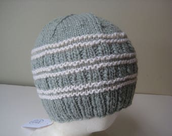 green gray hand knit wool hat