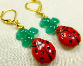 Red Glass Lady Bugs with Green Glass Leaves Lightweight Dangle Earrings