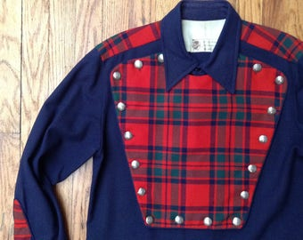 Vintage Turk Western Shirt with 2 different bibs red plaid blue wool gabardine with Navajo silver buttons singing cowboy parade rodeo