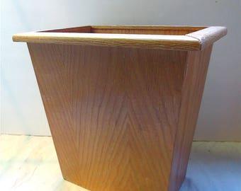 Oak Wood WasteBasket  Mid Century Desk Side Dust Bin Wastepaper