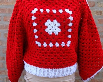 Red and White Poncho/ Crochet Poncho/ Crochet Granny Square Poncho/ Collar Poncho/ Fall Poncho/ Bohemian Poncho - Sorority Colors - Delta