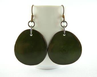 Olive Green Tagua Nut Eco Friendly Yoga Accessories Earrings with Free USA Shipping #taguanut #ecofriendlyjewelry