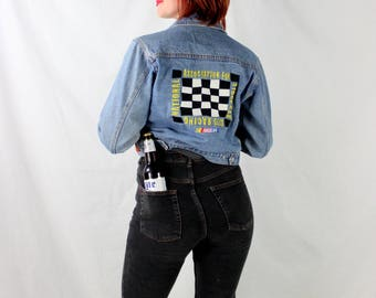 1990's Nascar Denim Cropped Jacket in XS Small . Patches Embroidery Authentic . Pockets Buttons . Crop Jean Jacket . Race Car Checkered Flag