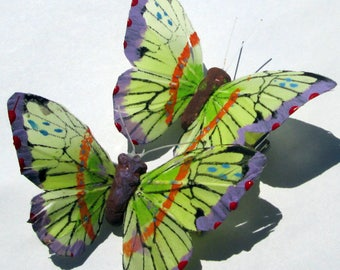 Butterfly Hair Clips Green feather butterfly hand made hair clip by Ziporgiabella Butterfly Accessories