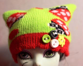 Ladybug Love Puff Knit Hat for Monster High or Puki Fee Real Puki Yo SD