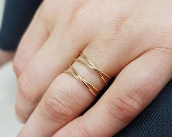 SALE - Double infinity ring gold or silver, double gold crisscross ring, X ring, best friend rings