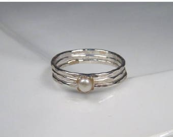 SALE - Freshwater pearl rings, sterling stack rings set of 3, hammered silver rings