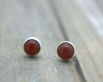 Carnelian Sterling Silver Stud Post Earrings - Gemstone Earrings