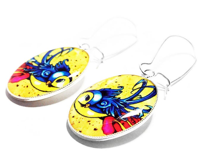 Rockabilly Earrings, Swallow Earrings, Tattoo Jewelry, Dangle Earrings, Handmade Jewelry, Gift for Her, Handmade Earrings, Swallow Bird