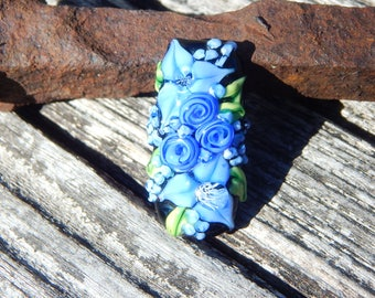 Garden Blues, Floral Bead, Handmade Artisan Glass Lampwork Bead, Simply Lampwork by Nancy Gant SRA G55