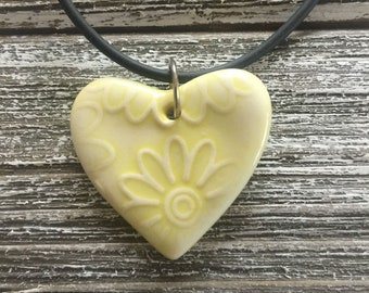 Bright Yellow Floral Porcelain Heart Pendant 2