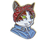 Enamel Pin - Feminist Cat - Ryan Berkley Illustration - Pin - Dapper Animals - Gift For Her - Cat Gift