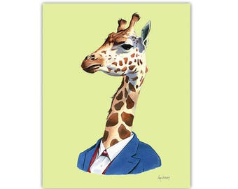 Giraffe art print by Ryan Berkley 5x7