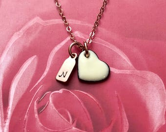 Birthstone Color Enamel Heart & Rose Gold Filled Initial Tag Charm Necklace in Rose Paper Jewelry Gift Box Valentine Jewelry - made to order