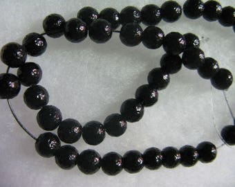 144 Black Textured Glass  Beads 6mm Beads per lot