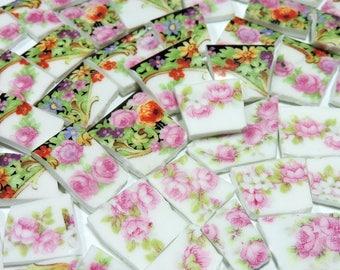 Mosaic Tiles - AnTiQuE BoHeMiAN PiNK RoSES - Broken China Plate Mosaic Tiles