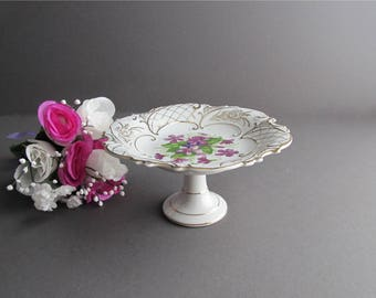 Vintage Candy Dish, Fancy Soap Dish, Nut Dish, Floral Footed Dish, Shabby Cottage Chic Dish