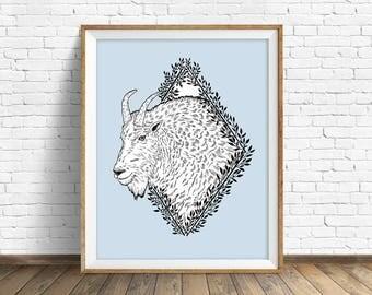 Rocky Mountain Goat - wall art, animal art print, woodland animals, large wall art, large art, wall art, drawing, woodland nursery, print