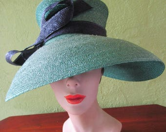 Seeberger Germany Charming Green Navy Straw Bow Shaped Hat Sun Derby Church Easter Tea
