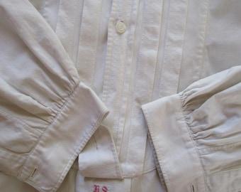 Vintage Heavy White Cotton Tunic Dress Tuxedo Bib Nightshirt Custom Mens Shirt