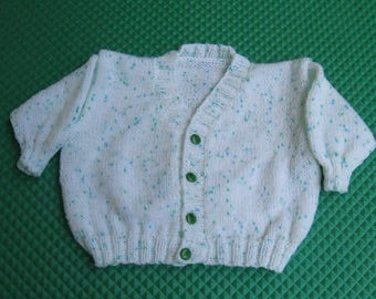 White and Green V Neck Speckled Cardigan with Green Etched Buttons for Boys