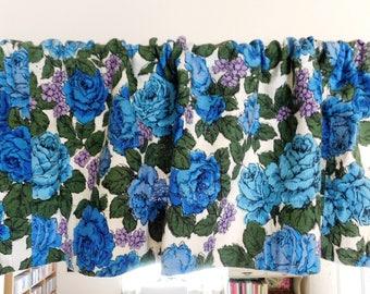 Vintage Barkcloth Floral VALANCE