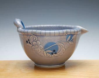 Batter / mixing Bowl in Periwinkle gloss w. Blue Polka dots & detail, Handmade Victorian modern