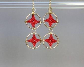Spangles, red silk earrings, 14K gold-filled