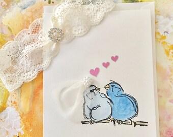Designer Garter, Garters, Garter with Love Birds Wedding or Bridal Shower Card, Hand Painted Love Birds Wedding Card, Wedding Accessories