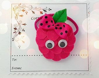Raspberry hair Clip or hair tie, Raspberry Barrette,Felt padded Raspberry bobble, Raspberries hair elastic Pony tail holders, pigtails