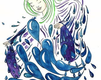Rain Dance Art Print 5 x 7 Watercolor Illustration Nursery Art Print Art for Kids Art For Children by Niina Niskanen