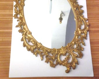 Snow White Mirror Mirror on The Wall Vintage Gold Mirror 60s Mirror Hollywood Regency