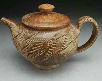 Ash Glazed Teapot - with Stylized Fern Textured Design