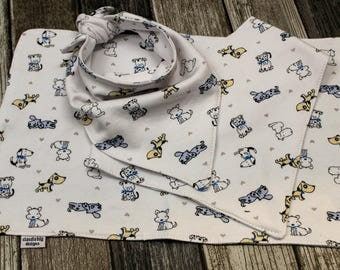Baby Bib Gift Set - Bandana Bib -  Scarf Bib - Drool Bib - Baby Shower Gift -  Southwest - Puppies - Dog - White - Blue - FREE burp cloth