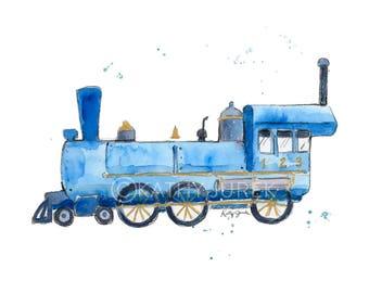 Boys Train Print - Train Nursery Print - Blue Train Print - Train Print - Steam Engine print