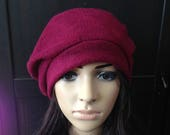Fleece Hat Slouchy Beret Tam Burgundy Cold Weather Fashion