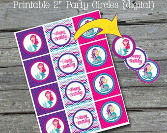 "Mermaid Party Cupcake Toppers | Mermaid Printable 2"" circles 