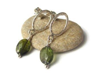 Tourmaline Earrings, October Birthstone, Earrings Gemstones Green, Green Studs, Delicate Green Earrings, Dainty Green Earrings