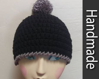 Black & Gray Pom Pom Beanie Hat