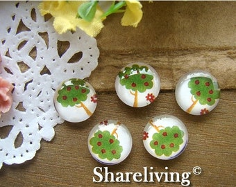 SALE - 30% OFF Time Limited Offer - 20 Percent OFF - 10pcs 12mm Handmade Photo Glass Cabochon / Wooden Cabochon  (Tree) -- Bch112A