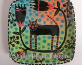 Flora and Fauna Cat Ceramic Square Dish Hand Painted by Sharon Bloom Designs