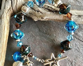 STAR of The SEA - OOAK Handmade Lampwork, Swarovski Crystals and Sterling Silver Bracelet
