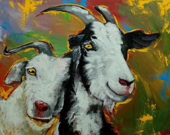 Goats portrait painting 3 24x30 inch original oil painting by Roz