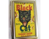 retro black cat metal wallet vintage advertising cigarette ID case rockabilly kitsch