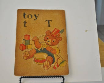 Vintage Teachers Hand Made Flash Cards  T is for Toy    Letter T   Hand Made Flash Card
