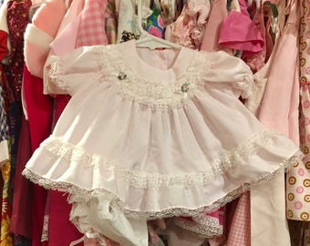 80s Baby Dress and Bonnet 0/3 Months