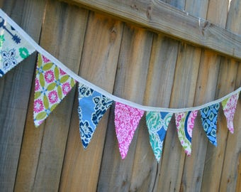 Girls shabby chic pennant bunting fabric banner in secret garder pink navy blue green - 9 double sided flags- nursery birthday bedroom decor