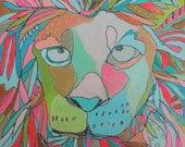 Lion Jennifer Mercede painting 6x6in 'Small Roar'