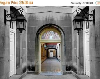 50% OFF SALE Architecture Photograph, Grey, Gothic, Stone, Black, Landscape, Building, Spooky, Hallway - 5x7 inch Print -Through These Halls